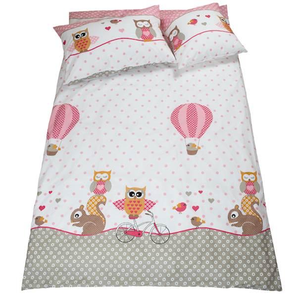 Pościel dziecięca zestaw na łóżko 160x80, 7-elementowa - Sówki, sowy