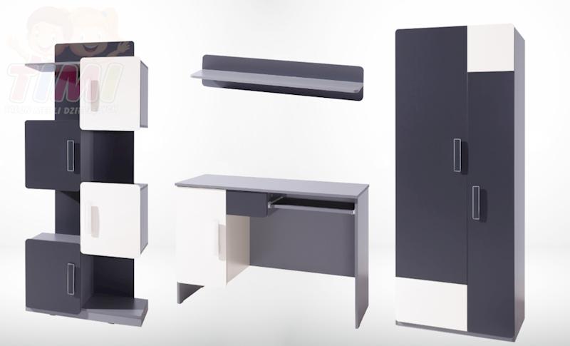 Zestaw Mebli 2 - LIDO - Grafit (regał, biurko, szafa, półka)