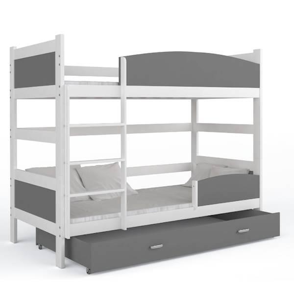 Łóżko piętrowe 2 osobowe - TWIST (biały + szary) z materacami 184x80 cm, z szufladą