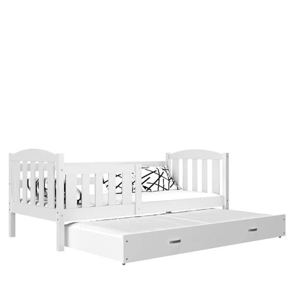 Kubuś - Łóżko 2 poziomowe z materacami 190x80 cm, z szufladą (białe)