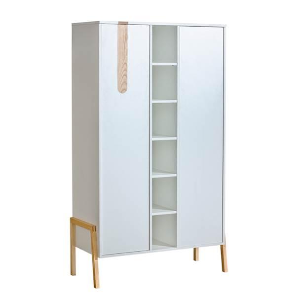 Yeti - Szafa 2 drzwiowa z regałem - Jesion + biały