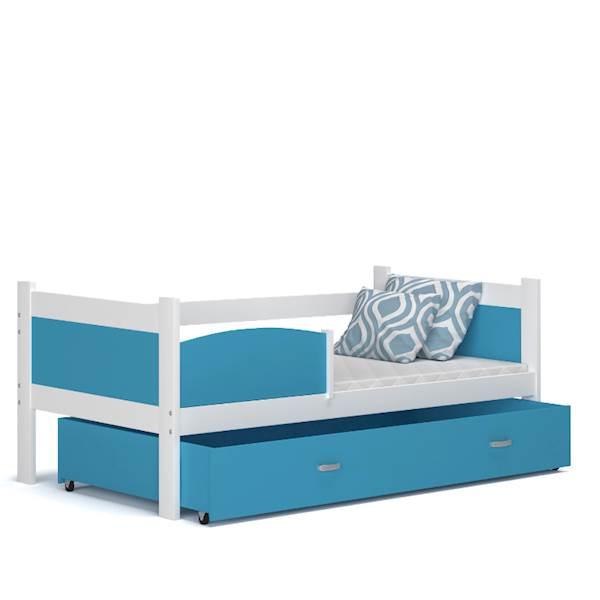 Łóżko parterowe - TWIST (biały + niebieski) z materacami 184x80 cm, z szufladą