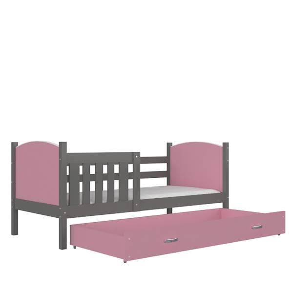 Tami - Łóżko parterowe z materacem 190x80 cm, z szufladą (szary + różówy)