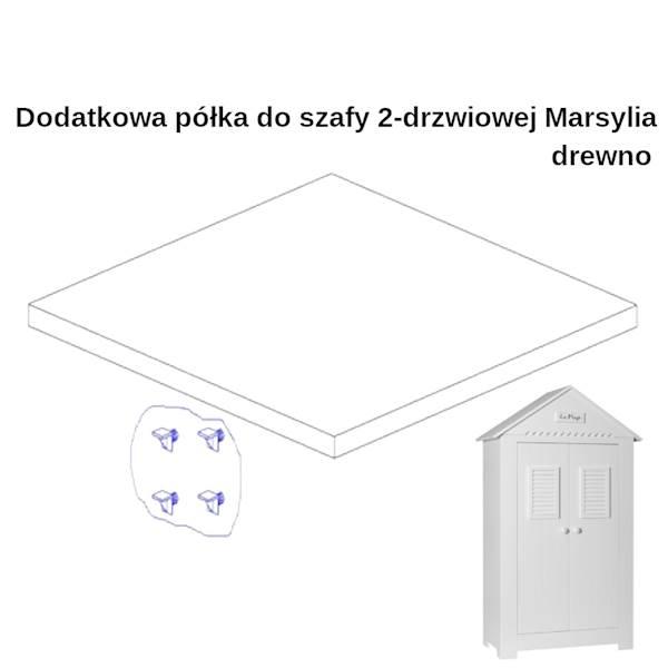 Marsylia drewno - Dodatkowa półka do szafy 2 drzwiowej - kolor biały