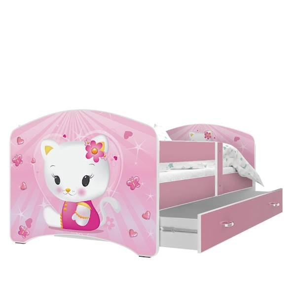 Lucky (różowy) - Łóżko parterowe z materacem 160x80, z szufladą - WZÓR 33 Kitty