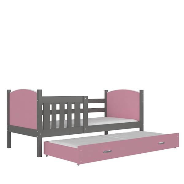 Tami - Łóżko 2 poziomowe z materacem 190x80 cm, z szufladą (szary + różowy)