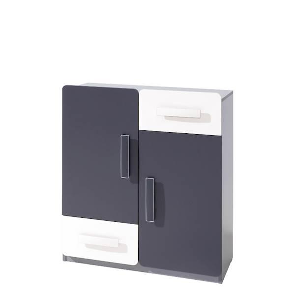 LIDO - Komoda 2-drzwiowa + 2 szuflady  - Grafit + popiel + biel