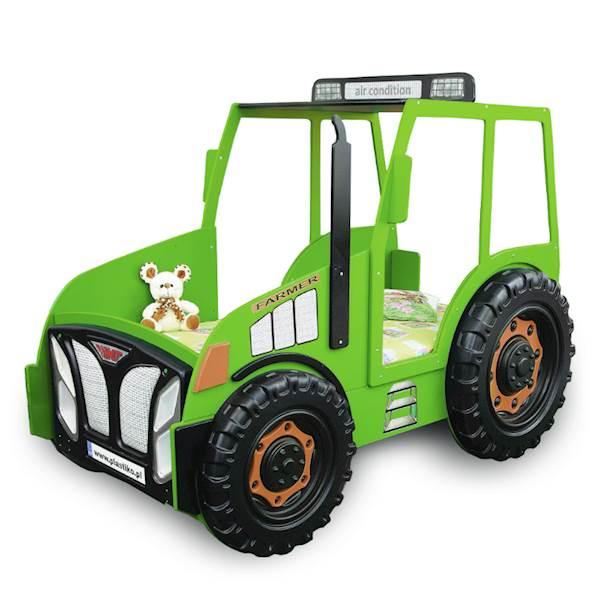 Łóżko dziecięce z materacem 180x90 cm - Traktor zielony