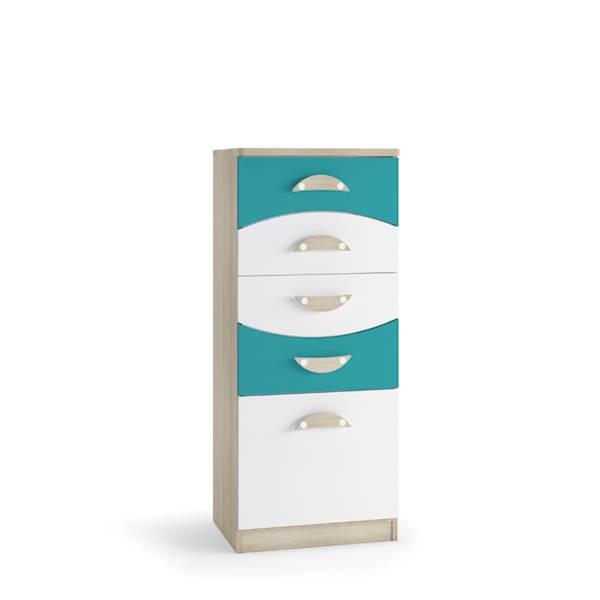 TENUS II - Komoda 5 szuflad - Dąb sonoma + turkus