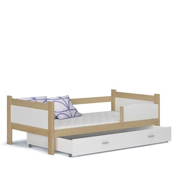 Łóżko parterowe - TWIST (sosna + biały) z materacami 184x80 cm, z szufladą