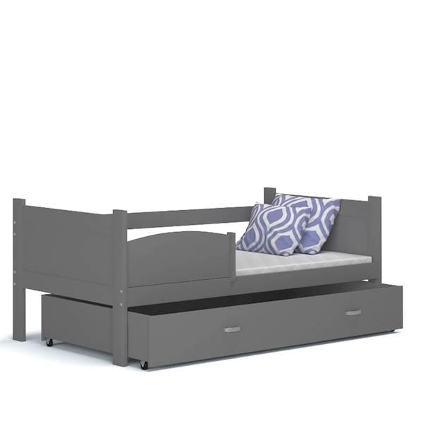 Łóżko parterowe - TWIST (szare) z materacami 184x80 cm, z szufladą