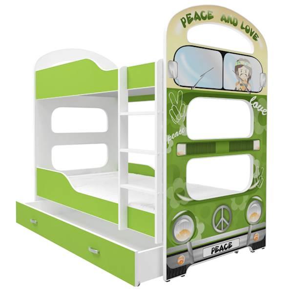 Łóżko piętrowe 2 os. - Dominik (wzór: Peace) z materacem 180x80 cm, z szufladą