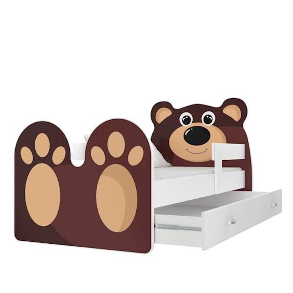 Łóżko Miś z materacem 160x80 cm z szufladą - kolor biały + brąz