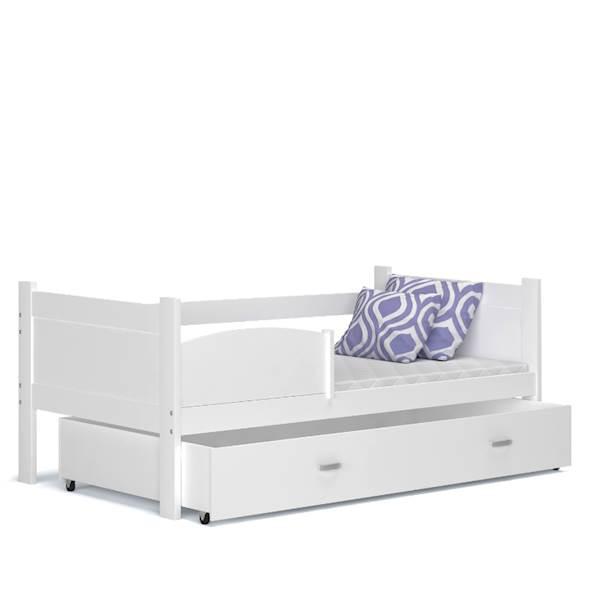 Łóżko parterowe - TWIST (białe) z materacami 184x80 cm, z szufladą
