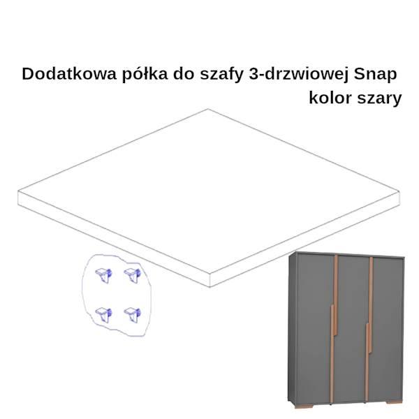 Snap Pinio - Dodatkowa półka do szafy 3 drzwiowej - ciemny szary