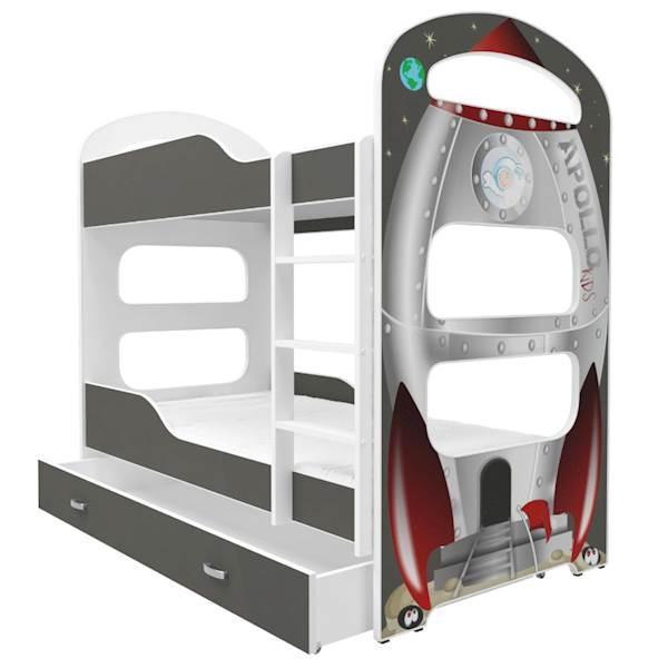 Łóżko piętrowe 2 os. - Dominik (wzór: Rakieta) z materacem 180x80 cm, z szufladą