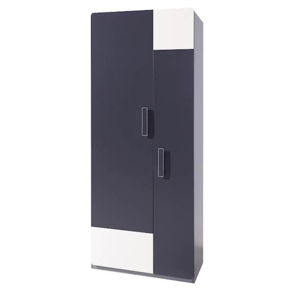 LIDO - Szafa 2-drzwiowa - Grafit + popiel + biel
