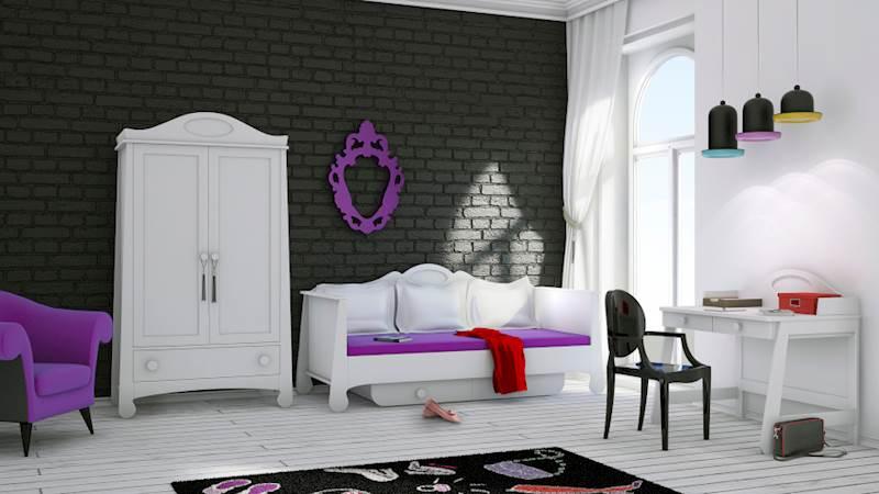 Pinio Parole - Zestaw mebli 4 (szafa + łóżko 200x90 + biurko)