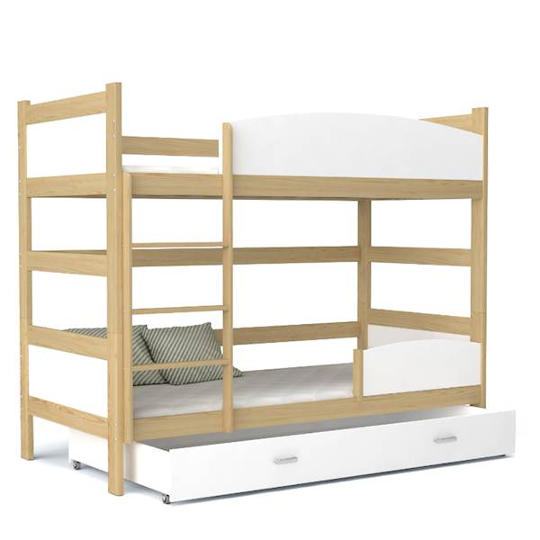 Łóżko piętrowe 2 osobowe - TWIST (sosna + biały) z materacami 184x80 cm, z szufladą
