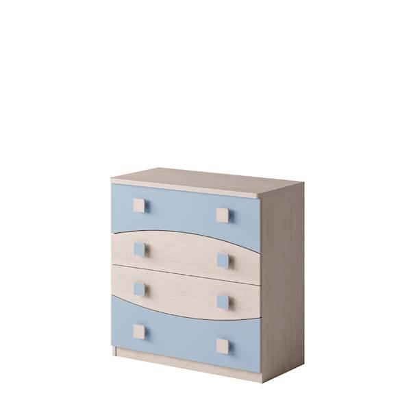 TENUS - Komoda 4 szuflady - Dąb santana + niebieski