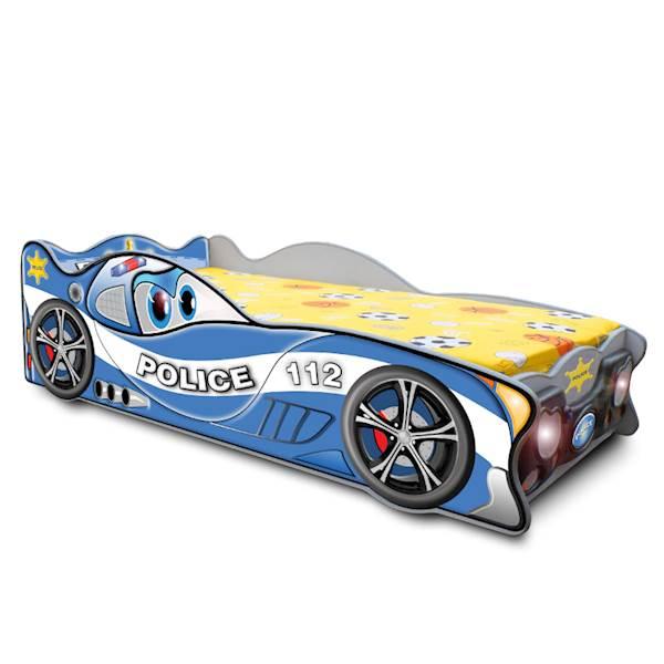 Łóżko dziecięce z materacem 160x80 cm - ZygZak policja - niebieski