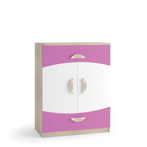 TENUS II - Komoda 2-drzwiowa + 2 szuflady - Dąb sonoma + krokus