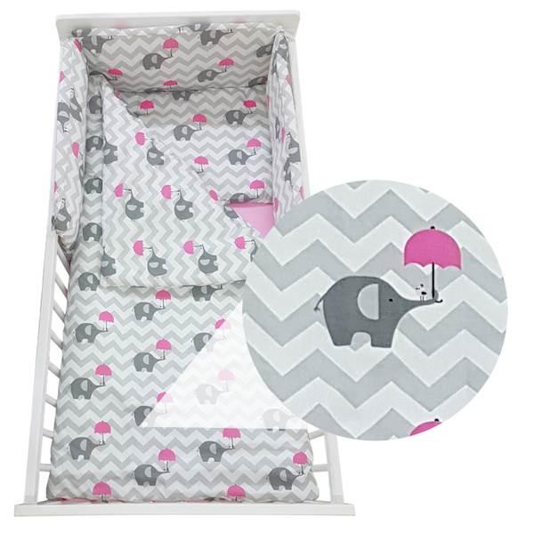 Pościel niemowlęca na łóżeczko 120x60 cm, 6 elementów - różowe słoniki