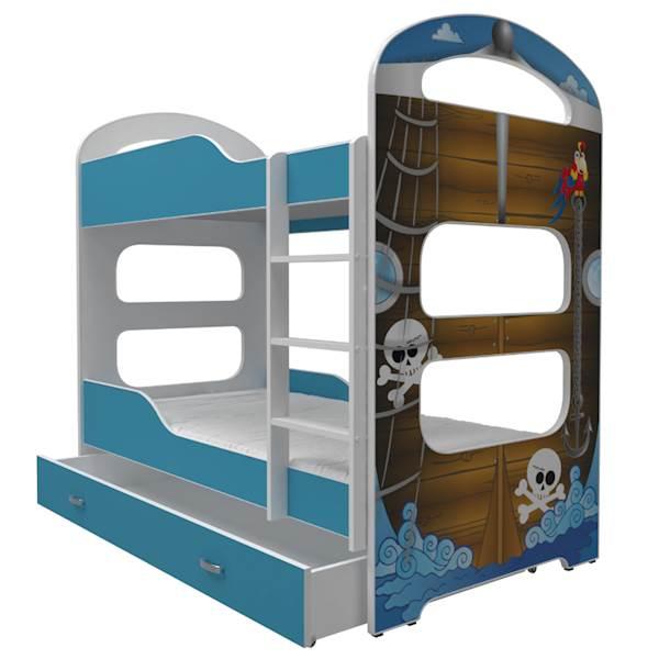 Łóżko piętrowe 2 os. - Dominik (wzór: Pirat) z materacem 180x80 cm, z szufladą