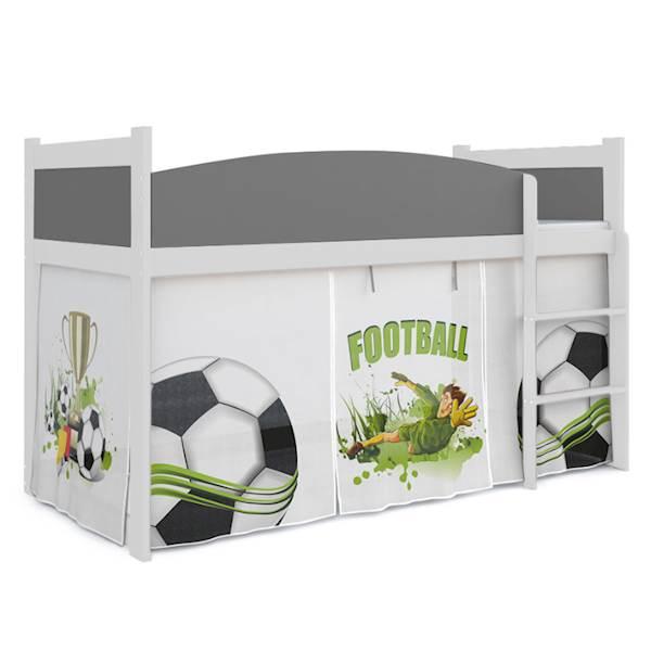 Łóżko Antresola z materacem 184x80 cm, wzór: Piłkarz (szary, biel)