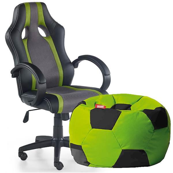 Zestaw gracza - piłka pufa + krzesło - zieleń