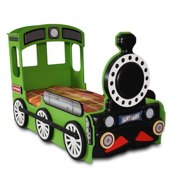 Łóżko dziecięce z materacem 190x90 cm - Pociąg, Lokomotywa - zielony