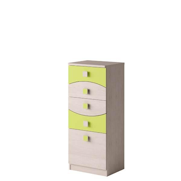 TENUS - Komoda 5 szuflad - Dąb santana + zielony