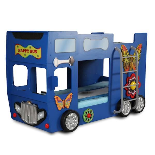 Łóżko piętrowe dziecięce z materacami 190x90 cm - Happy Bus Autobus - niebieski