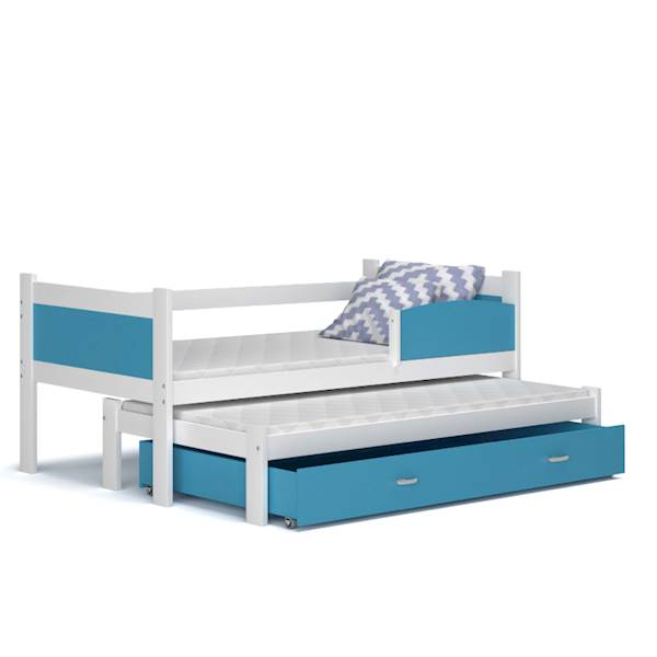 Łóżko 2 poziomowe - TWIST (biały+ niebieski) z materacami 184x80 cm, z szufladą