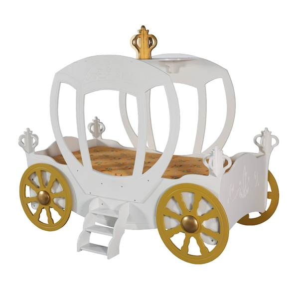 Łóżko dziecięce z materacem 180x90 cm - Karoca dla księżniczki - biała