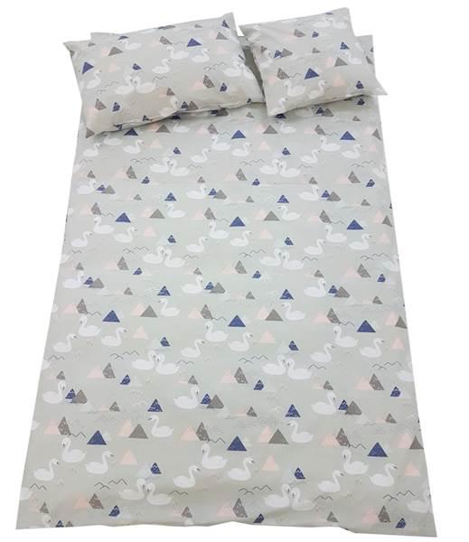 Pościel dziecięca zestaw na łóżko 160x80, 7-elementowa - Łabędzie
