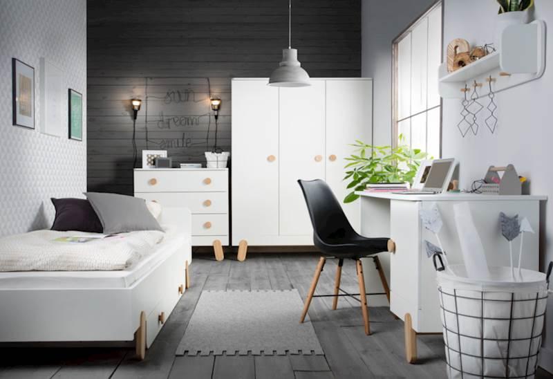 Pinio Iga - Zestaw mebli 3 (szafa + biurko + łóżko 200x90 + szuflada + komoda + półka)
