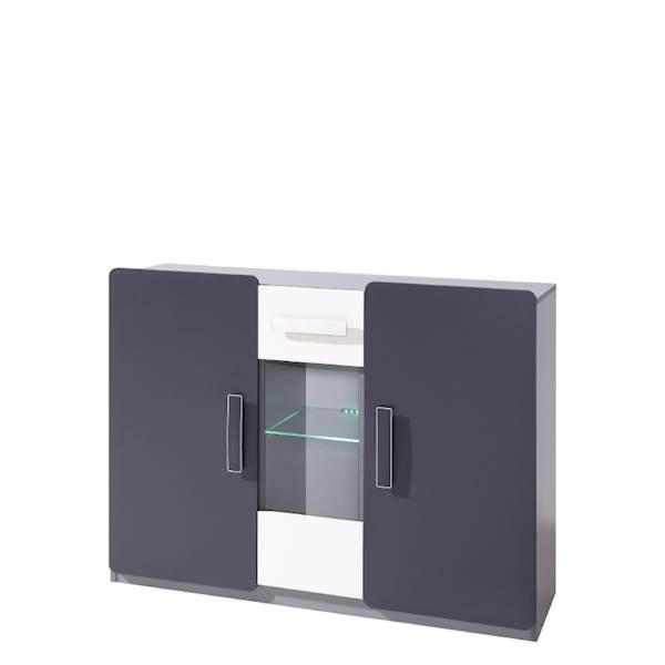 LIDO - Komoda 3-drzwiowa - Grafit + popiel + biel