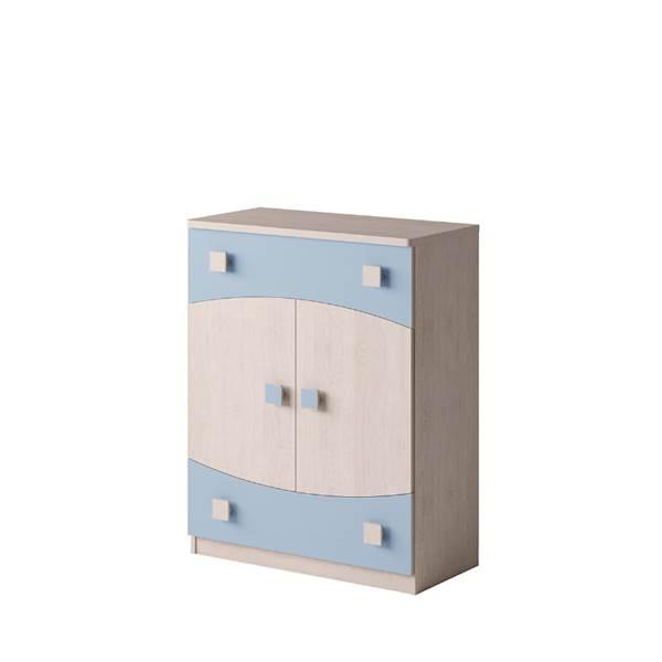 TENUS - Komoda 2-drzwiowa + 2 szuflady - Dąb santana + niebieski