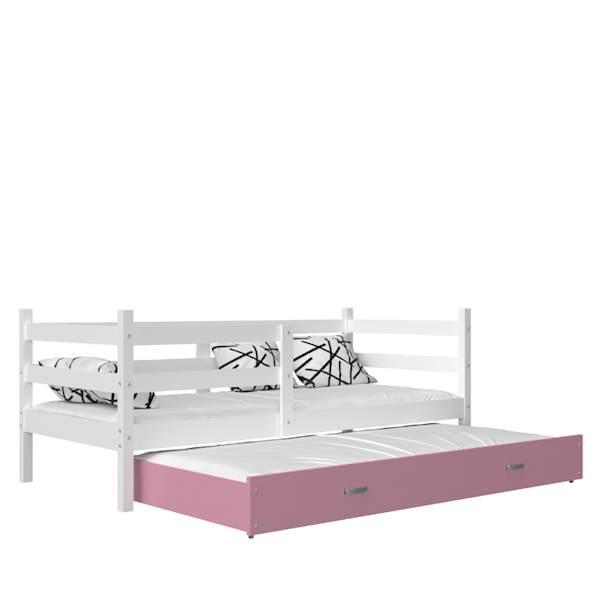 Jacek - Łóżko 2 poziomowe z materacem 190x80 cm, z szufladą (biały + różowy)