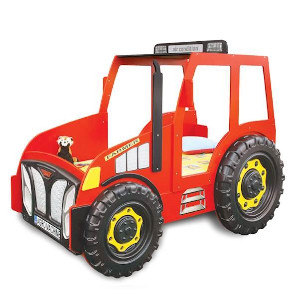 Łóżko dziecięce z materacem 180x90 cm - Traktor czerwony
