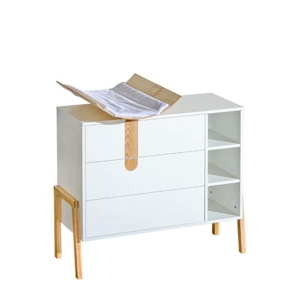 Yeti - Komoda 3 szuflady z przewijakiem - Jesion + biały