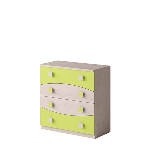 TENUS - Komoda 4 szuflady - Dąb santana + zielony