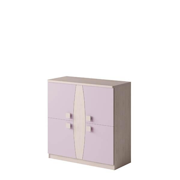 TENUS - Komoda 4-drzwiowa - Dąb santana + wrzos