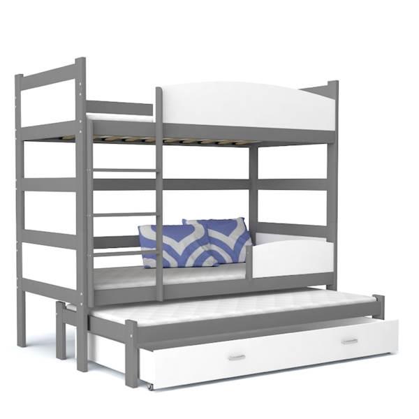 Łóżko piętrowe 3 osobowe - TWIST (szary + biały) z materacami 184x80 cm, z szufladą