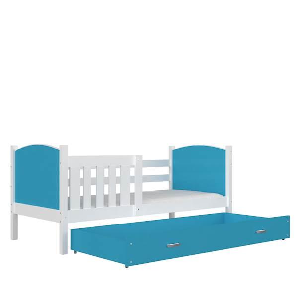 Tami - Łóżko parterowe z materacem 190x80 cm, z szufladą (biały + niebieski)