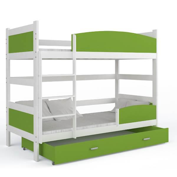 Łóżko piętrowe 2 osobowe - TWIST (biały + zielony) z materacami 184x80 cm, z szufladą