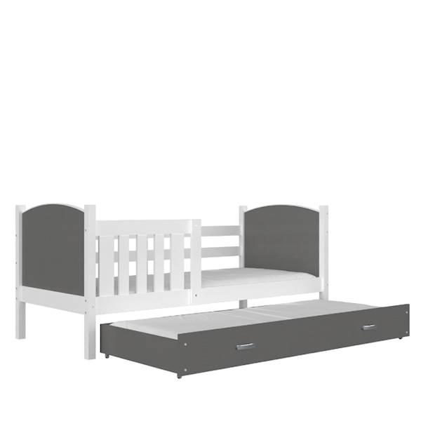 Tami - Łóżko 2 poziomowe z materacem 190x80 cm, z szufladą (biały + szary)