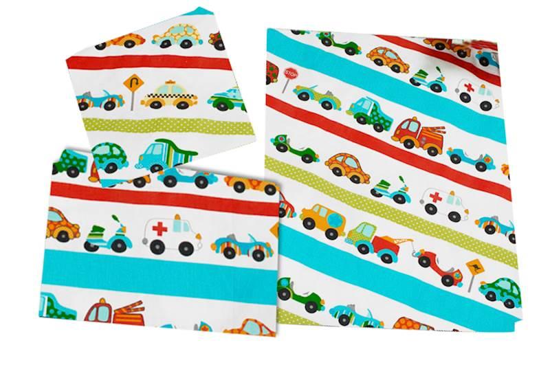 Pościel dziecięca zestaw na łóżko 160x80, 3-elemenowy - Auta, samochody