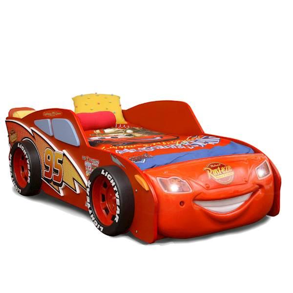 Łóżko dziecięce z materacem 180x90 cm - Samochód McQueen MDF